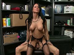 Buxom brunette Mya Nichole rides on cock like a true cowgirl