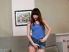 Brunette sweetie Zhenia is ready to play with her wet hole from dusk till dawn