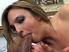 Impressive Lexi Love gets a huge dick to pound her hairy twat and fill it well