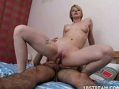 This sweet young blonde was enjoying her sex dreams when she realized they were real and her horny man was playing with her pussy and she sucked his cock then he fucked her.