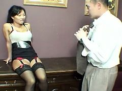 Watch this saucy Asian brunette giving her man an amazing footjob before she's ready to blow his dong with her perversely skilled mouth. She looks great in those stockings!
