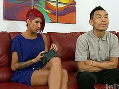 This red-haired enchantress knows that she is driving her Asian friend crazy so she makes him worship her hungry pussy. Horny dude licks it greedily like a seasoned cunt licker.