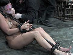 Brunette and blonde chicks get bonded with sophisticated bondage devices. In addition they get toyed with a vibrator.
