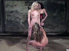 Harmony, Sarah Jane Ceylon and one more hottie are playing BDSm games in a cellar. The brunette ties the blondes up, humiliates and torments them and then drills their pussies with dildos.