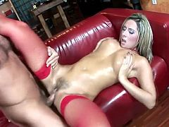 Booty blond milf in red stockings is loving it big