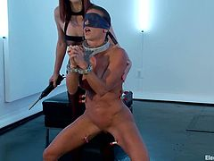 This wild bondage video featuring Maitresse Madeline has her fucking with a strapon and dominating Ariel X wildly.