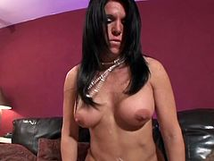 Cheyenne Hunter is teasing this guy in sexy lingerie and stockings. He was watching TV, but her curves determined him to take a break and nail her pussy deep.