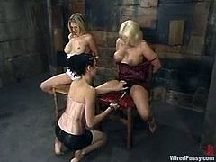Two sexy blonde girls get undressed and tied up by a brunette girl. Later on these blondes lick each others pussies and get toyed.