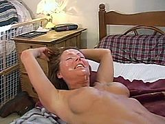 A salacious brown-haired milf is playing dirty games with some horny dude. They pet each other and then have sex in missionary, reverse cowgirl and other positions.