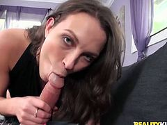 Insatiable brunette whore gives her lover a nice blowjob