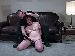This girl plays with her pussy and then gets tied up at the casting. Then she also gets gagged and toyed with a vibrator.
