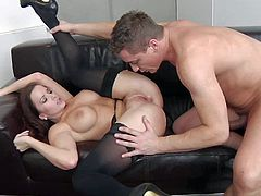 Lusty brunette milf Cindy Dollar with big tits and round bouncing ass in black stockings and garter belt gives head to Steve Q and gets pounded in doggy style position.