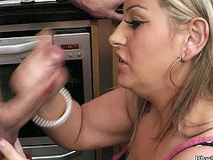 Bbw mom Dani is in the kitchen and today, she's having cock for lunch! The blonde whore bends over and gets her big booty licked by the guy before she goes down and dirty for his penis. Look at her sliding those pink, sweet lips around his dick, wishing for the dude's cum in her mouth. What a whore!