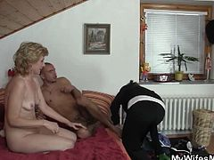 Courtesy of My Wifes Mom you can see how Muscular stud bangs his GF's mother deep and hard into a massive orgasm while assuming some very interesting poses.