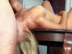Casi James is a long haired sex hungry blonde. She spreads her sexy legs in front of a lucky guy. He gives her trimmed pussy a lick and then makes his rod disappear in her pink love tunnel.
