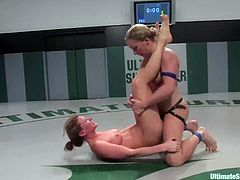 Ariel X is an experienced and skillful fighter but she loses to Dia because this Eastern European chick is a tough opponent. So, Ariel has to lick Dia's vagina and gets toyed deep in her pussy wit a strap-on.
