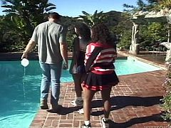 Watch these two horny black sluts getting their pussy eaten by a life guard with big muscles in Fame Digital sex clips.