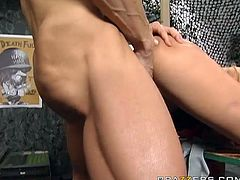 Voluptuous blonde mom with huge fake boobs gets nailed hard missionary style upskirt. She later banged hard doggy style.