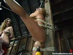 Two horny and kinky lesbian chicks Jade Marxxx and Shannon Kelly are having a great time together. That fucking machine brings their sex some more passion.