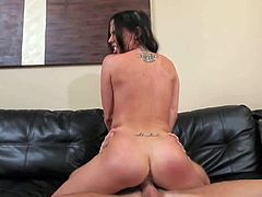 Black haired wild and lusty Brandy Aniston with big firm balloons suck balls while pleasuring tall Alex Gonz and fucks with him on couch like there is no tomorrow.