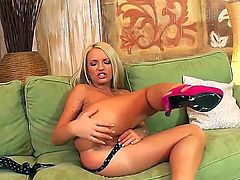 Horny and gorgeous blonde babe with hot body Britney Spring gets a bit carried away when she starts rubbing her shaved taco and even uses her toy on her ass hole