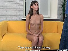 Alla wants to be a star, she wants it so much that she's ready to do anything for it. Well, our tricky agent takes advantage of that and the fact that she's very naive! Soon, Alla gets naked and sucks his cock. The skinny chick stuffs her mouth with cock and maybe the agent will even give her a load of cum!