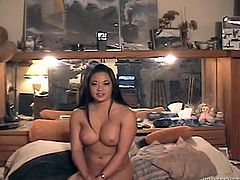 Juicy babe with gorgeous boobs is posing and getting fucked by fat old dude. He penetrates her hot and welcoming pussy in missionary style position.