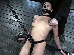 This petite and sizzling siren Bella Rossi is being an object of some sadist's fantasies. She gets hanged with chains so that her twat is reachable!