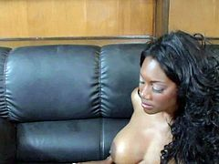 Pretty big ass black hottie Nyomi Bankxxx with big tits and provocative heavy make up teases her tall chubby lover Lee Bangs and gets pounded in doggy style position.