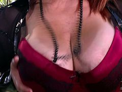 Busty redhead MILF squeezes her balloons is solo masturbation porn clip