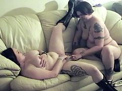Watch this fat as fuck lesbian chick getting her wet pussy rubbed on her girl friend's face on the sofa in Chick Pass Network sex clips.