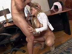 Brooklyn Lee is a smoking hot secretary with big boobs. She gets down in her knees in front of her boss and sucks his stiff dick like theres no tomorrow. She shows her melons and her snatch while doing it.