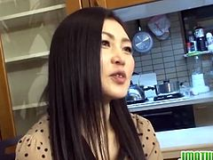 A bunch of people were dining at a restaurant. This mature Japanese started to try on different sexy outfits. She went in another room with a man who fucked her.