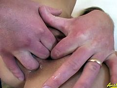 Watch the nasty blonde belle Leah Luv getting her pussy fingered and dildoed while her mouth gets pounded hard into heaven!