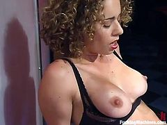 Charming chick is having fun in a basement. She rubs her vag with a dildo and then takes a ride on a few fucking machines and gets multiple orgasms.