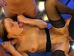 Nasty Sabine feels warm cock drilling her tight ass during top anal threesome session