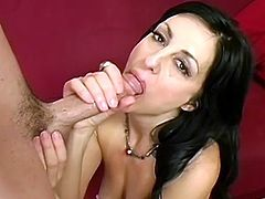 Brunette milf loves feeling huge pressure down her wet and hairy tight vag