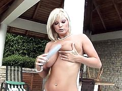 Sheila Grant with giant boobs and clean snatch shows it all and then masturbates in closeup