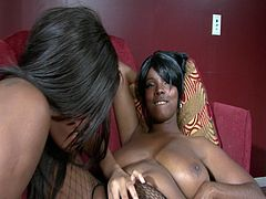 Courtesy of PornerBros HD you can see two busty ebony sluts munch and dildo their cunts on the couch while assuming some very interesting poses in this free porn video.