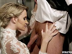 Cock hungry Angel Piaff gives a blowjob to her friend at the wedding