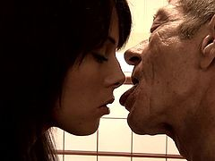 Sweetie lets this horny old guy feel and pound her greedy cunt and ass