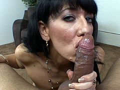 Impressive mom blows one large dick during top POV blowjob porn session