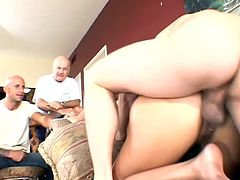 Get a load of this hardcore scene where this cuckold guy witnesses his wife being nailed by another dude as you hear her moan.