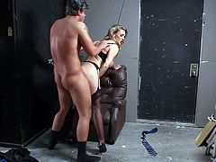 Wild pale milf Tanya Tate with big juicy knockers and round bums in black lingerie and high heels gives head to Rocco Reed and sucks his cock like there is no tomorrow.
