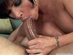 Dirty Harry's wife will be out of town for a business trip. Feeling and wanting to fuck, he call busty MILF escort Shay Fox to get his dick sucked, give him a boob fuck and have it deep in her wet cunt.