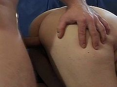 Check out this horny blonde grandma messing around with a big dicked young stud. She deepthroats his big cock and takes it right into her hairy old cunt for a cumshot!