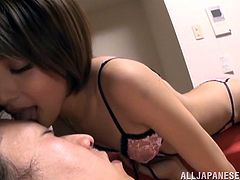 Check the impressive blowjob the gorgeous Asian Yuuki Natsume gives to this cock in her sexy lingerie where she also face sits him.