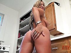 Blonde asian shows it all in a playful manner