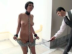 One of them is tied up with ropes with her hands from behind and the other one is chained down on the floor on her neck. Perfect cunnilingus pose!