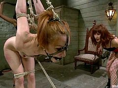 Skinny redhead girl gets tied up and suspended by two nasty chicks. Later on this submissive bitch licks pussies and gets toyed.